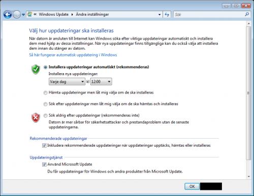 Automatiska uppdateringar Vista