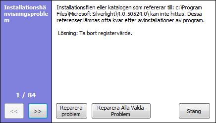 CCleaner Reparera problem