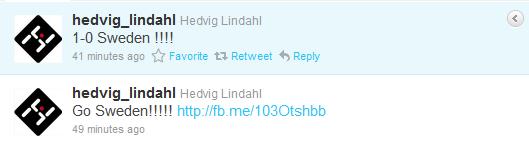 Hedvig Lindahl Twittrar under matchen